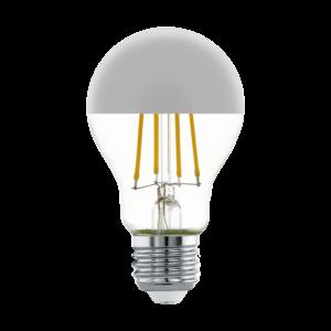 LED 7W/827 E27 806lm normál A60 forma tetőtükrös ezüst 2700K - LED filament - Eglo - 11834