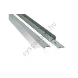 LED alumínium profil, 12 mm belméret, 1m-es szál, opál takaróval, 2 db felületi rögzítő szettel - 61100M - (CL67611M)