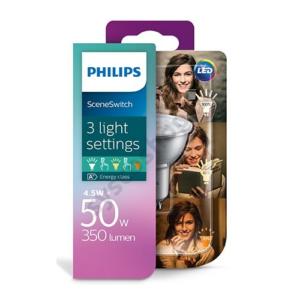 LED 4.5W-50W/827-825-822/GU10 Spot WW 36° ND Scene Switch - Philips - 929001346001 !