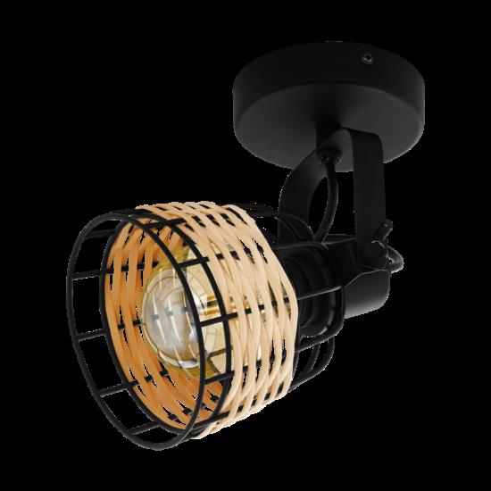 Fali lámpa E27 1x40W fekete/rattan Anwick - Eglo - 43324