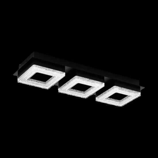LED-es fali/mennyezeti lámpa 3x4W 3000K 1200lm fekete/kristály Fradelo 1 - Eglo - 99325