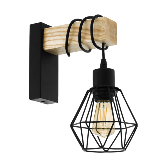 Fali lámpa E27 max.60W fekete/tölgy Townshend 5 - Eglo - 43135