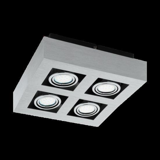 LED-es fali/mennyezeti lámpa GU10 4x5W csiszolt alu Loke 1 EGLO - 91355