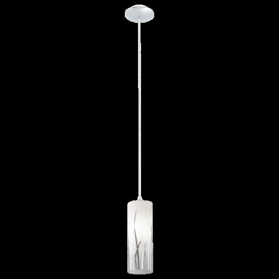 Függeszték E27 1x60W acél/króm fehér üveg/króm mintás d:9cm Rivato EGLO - 92739