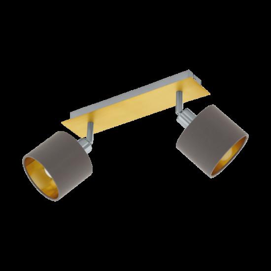 Fali/mennyezeti lámpa E14-es max.2x10W csiszolt réz, matt nikkel-cappuccino, arany 320mmX70mm - VALBIANO - Eglo - 97537