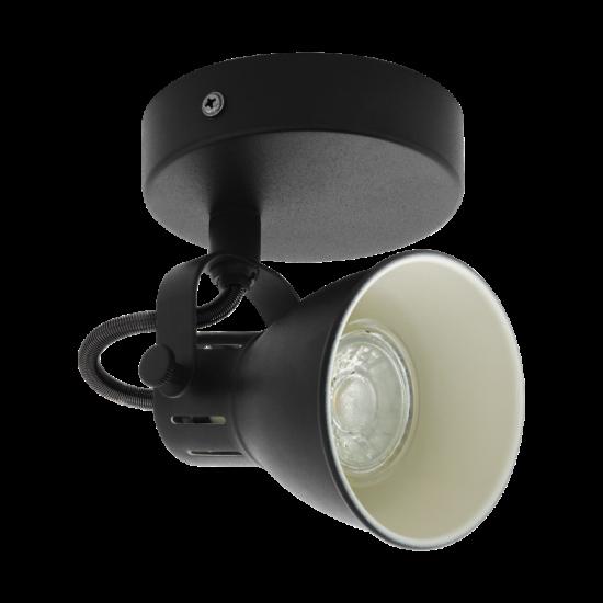 LED-es fali spot lámpa GU10 1x3,3W 3000K 240lm fekete Seras 2 - Eglo - 98397
