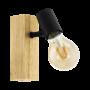 Kép 1/2 - Fali spot lámpa E27 max.10W tölgy/fekete Townshend 3 - Eglo - 98111